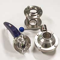 Sanitary fittings and valves for wine pumps