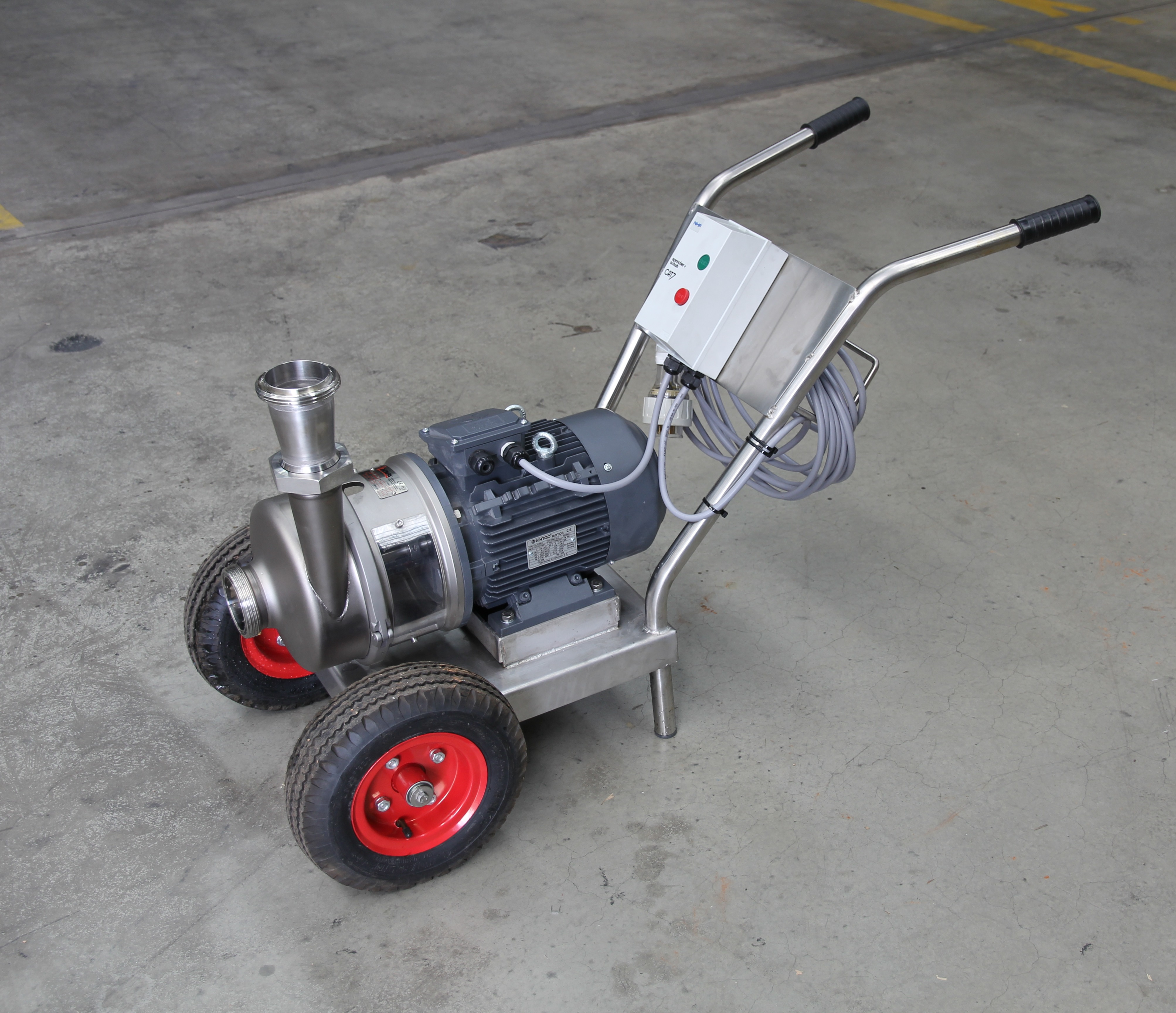 SS Pump on trolley and with pump starter